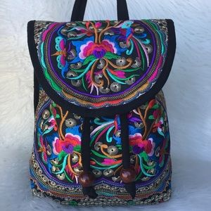 Vintage Women Embroidery Ethnic Backpack NWT